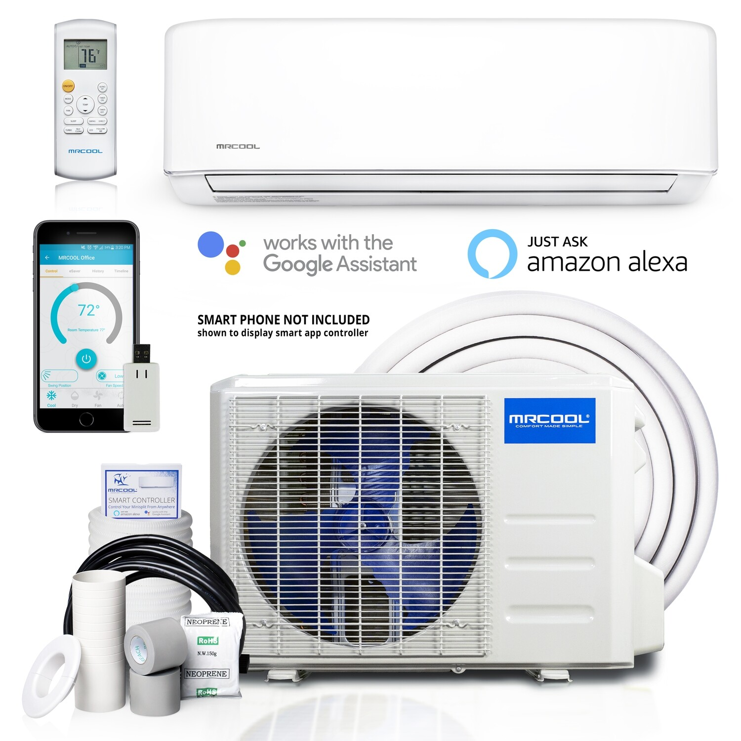 MRCOOL 9000 BTU Advantage  Mini Split System with Remote and 16 FT Lineset Install Kit  WIFI Enabled