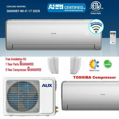 AUX 36000 BTU Inverter Heat Pump Mini Split  208/230V  17 SEER with 12 Foot Install Kit with WIFI FREE SHIPPING