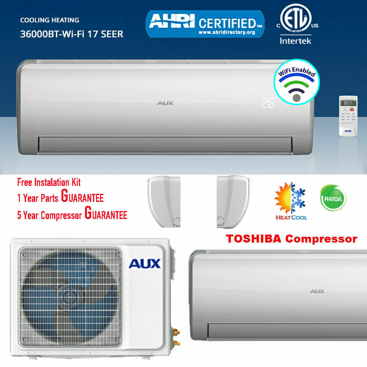 AUX 36000 BTU Inverter Heat Pump Mini Split  208/230V  17 SEER with 12 Foot Install Kit with NO WIFI FREE SHIPPING