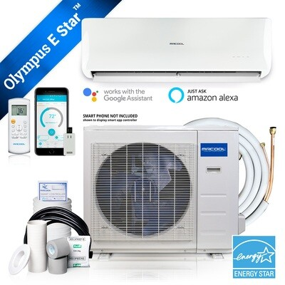 MRCOOL 9000 BTU OLYMPUS ENERGY STAR  Heat Pump Condenser & Wall Mount Air Handler 230 volt 22.8 SEER with Enhanced WiFi (Works with Alexa, Works with Google Assistant)