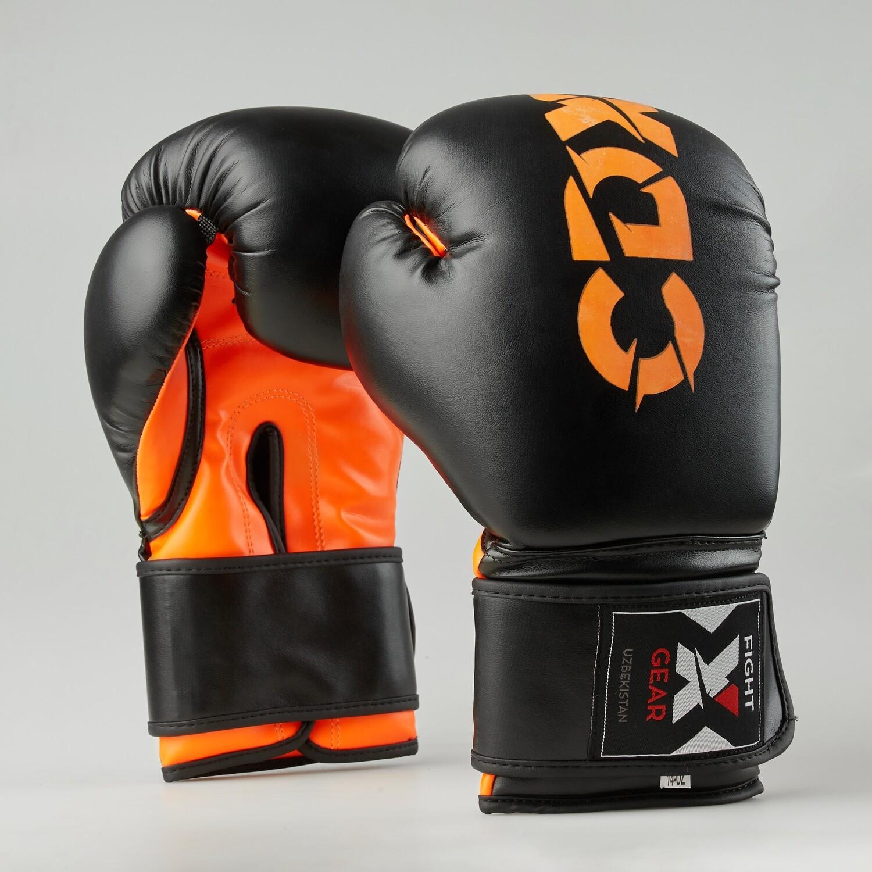 """Боксерские перчатки из искусственной кожи """"Rexin"""" черно-оранжевые"""