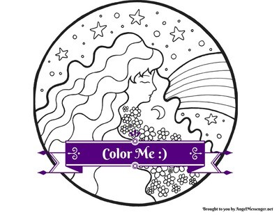 Goddess Rainbow Coloring Page