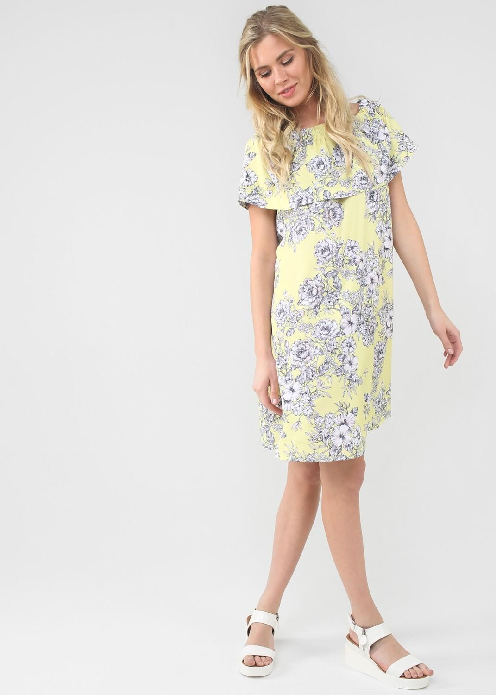 """Платье """"Контент"""" для беременных и кормящих желтый/цветы"""
