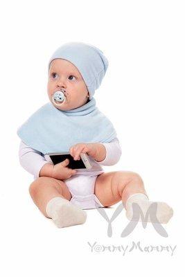 Манишка детская флисовая на липучке светло-голубая