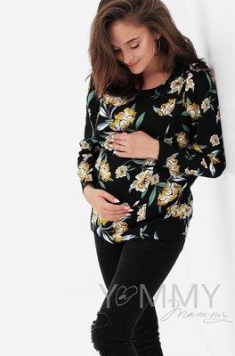 Блуза черная/ цветы