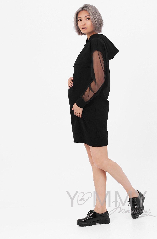 Y@mmy Mammy. Платье с капюшоном , с сеткой на рукавах