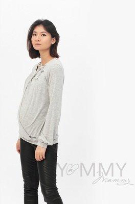 Блуза с бантом светло-серый меланж