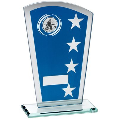 BLUE/SILVER PRINTED GLASS SHIELD WITH ANGLING INSERT