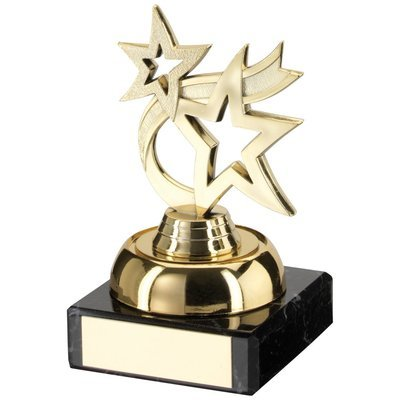 GOLD PLASTIC+MARBLE 'DANCING STAR' TROPHY