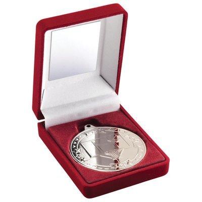 RED VELVET BOX+MEDAL BASKETBALL TROPHY - SILVER 3.5in