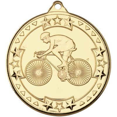 CYCLING 'TRI STAR' MEDAL - GOLD 2in