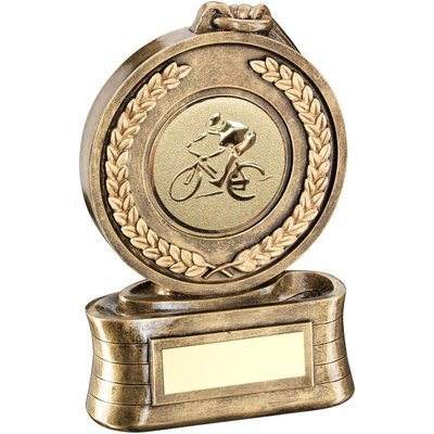 BRZ/GOLD MEDAL & RIBBON TROPHY WITH CYCLING INSERT
