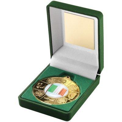 GREEN VELVET BOX+MEDAL  FOUR PROVINCES TROPHY - GOLD (1in CENTRE) 3.5in