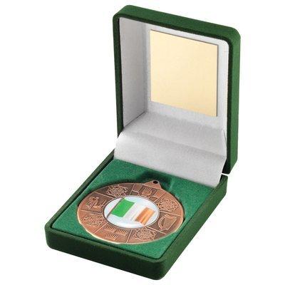 GREEN VELVET BOX+MEDAL  FOUR PROVINCES TROPHY - BRONZE (1in CENTRE) 3.5in