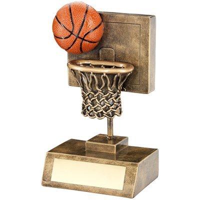 BRZ/GOLD/ORANGE BASKETBALL & NET WITH BACKBOARD