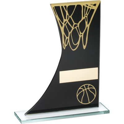 BLACK/GOLD PRINTED GLASS PLAQUE WITH BASKETBALL/NET