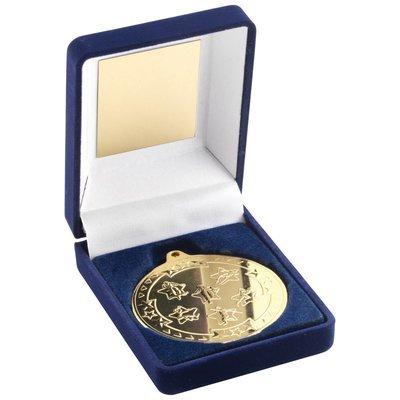 BLUE VELVET BOX+MEDAL MULTI ATHLETICS TROPHY - GOLD 3.5in