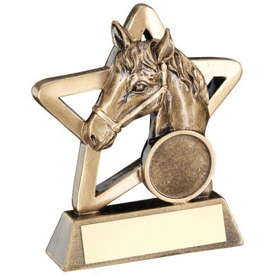 BRZ/GOLD HORSE MINI STAR TROPHY - (1in CENTRE)
