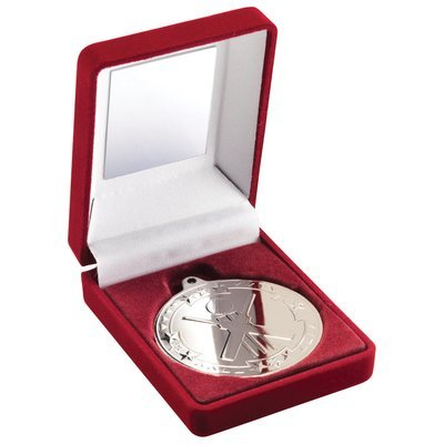 RED VELVET BOX+MEDAL CRICKET TROPHY - SILVER 3.5in