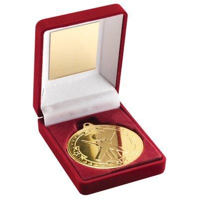 RED VELVET BOX+MEDAL CRICKET TROPHY - GOLD 3.5in
