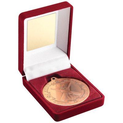 RED VELVET BOX+MEDAL CRICKET TROPHY - BRONZE 3.5in