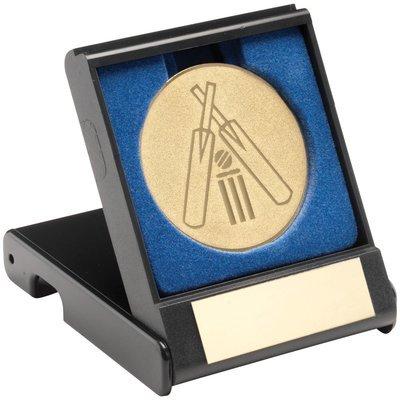 BLUE VELVET BOX+MEDAL CRICKET TROPHY - ANTIQUE GOLD 4in