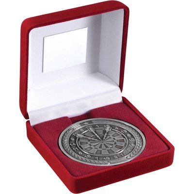 RED VELVET BOX+MEDAL DARTS TROPHY - ANTIQUE SILVER 4in