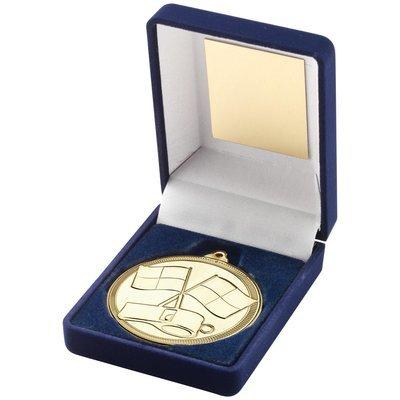 BLUE VELVET BOX AND REFEREE MEDAL GOLD
