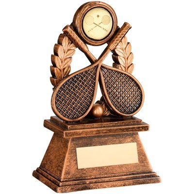 BRZ/GOLD 'SQUASH' OVAL WREATH TROPHY - (1in CENTRE) 5.5in