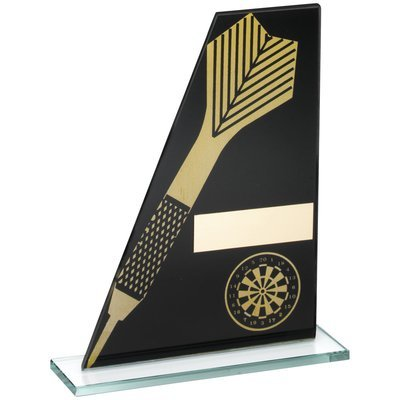 BLACK/GOLD PRINTED GLASS PLAQUE WITH DART/DARTBOARD