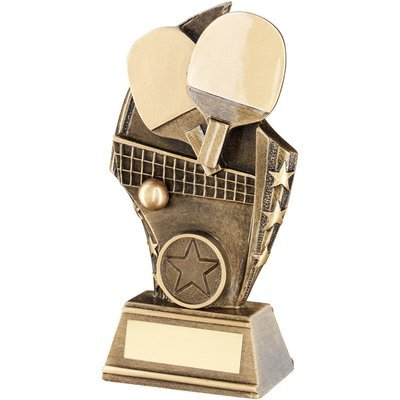 BRZ/GOLD TABLE TENNIS CURVED PLAQUE TROPHY