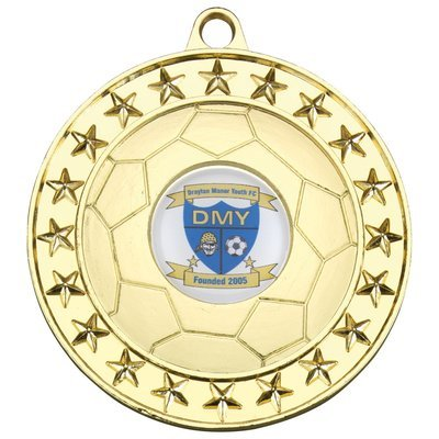 FOOTBALL MEDAL - GOLD (1in CENTRE) 2.75in