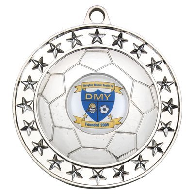 FOOTBALL MEDAL - SILVER (1in CENTRE) 2.75in