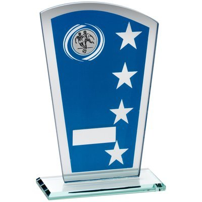 BLUE/SILVER PRINTED GLASS SHIELD WITH FOOTBALL INSERT