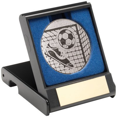 BLACK PLASTIC BOX WITH FOOTBALL INSERT - SILVER 3.5in