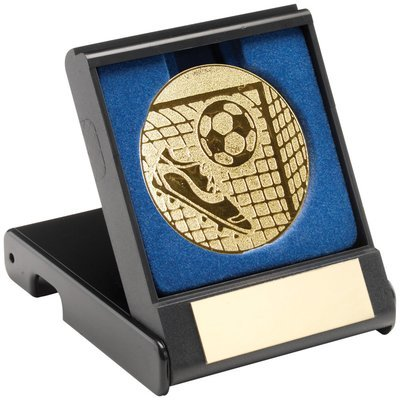 BLACK PLASTIC BOX WITH FOOTBALL INSERT - GOLD 3.5in
