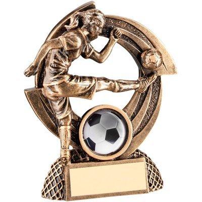 BRZ/GOLD FLATBACK FEMALE FOOTBALL 'QUARTZ' FIGURE TROPHY - (1in CENTRE)