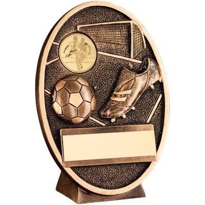 BRZ/GOLD FOOTBALL+BOOT OVAL PLAQUE TROPHY - (1in CENTRE)