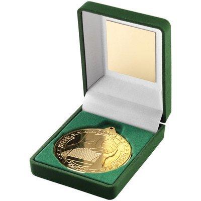 GREEN VELVET BOX+MEDAL GAELIC FOOTBALL TROPHY - GOLD 3.5in