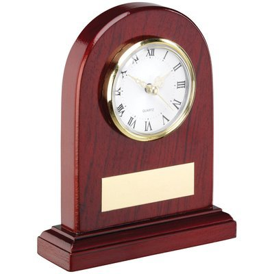 ARCHED WOODEN CLOCK TROPHY - 5in