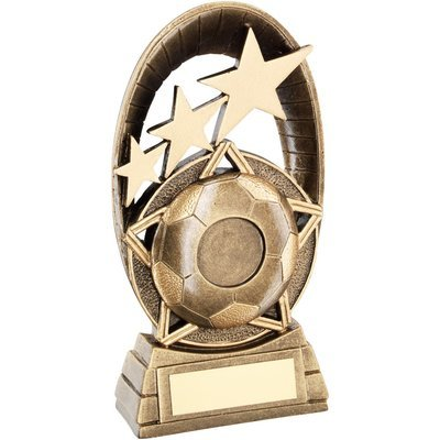 BRZ/GOLD FOOTBALL TRI STAR OVAL PLAQUE
