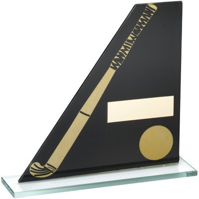 BLACK GOLD PRINTED GLASS PLAQUE WITH HOCKEY STICK/BALL