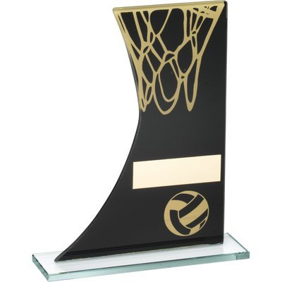 BLACK/GOLD PRINTED GLASS PLAQUE WITH NETBALL/NET