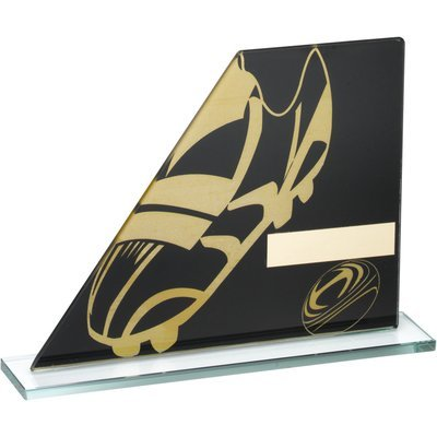 BLACK/GOLD PRINTED GLASS PLAQUE WITH RUGBY BOOT/BALL