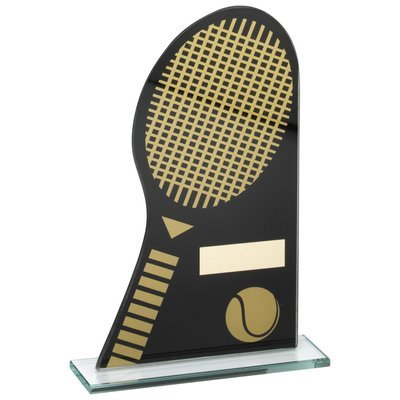 BLACK/GOLD PRINTED GLASS PLAQUE WITH TENNIS RACKET/BALL