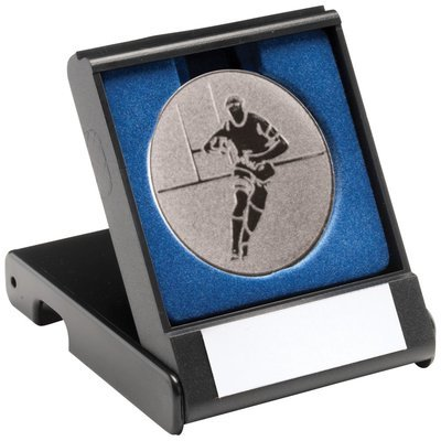 BLACK PLASTIC BOX WITH RUGBY INSERT TROPHY - SILVER 3.5in