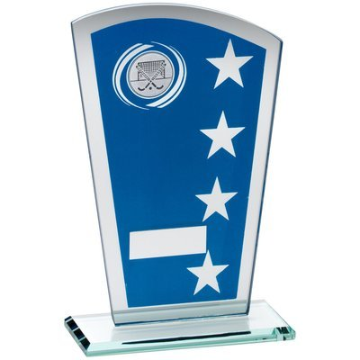BLUE/SILVER PRINTED GLASS SHIELD WITH HOCKEY INSERT