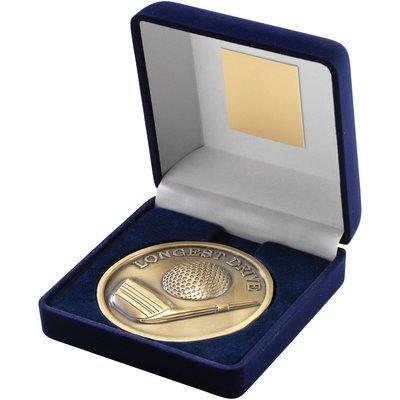 BLUE VELVET BOX+MEDAL GOLF TROPHY - ANTIQUE GOLD 'LONGEST DRIVE' 4in