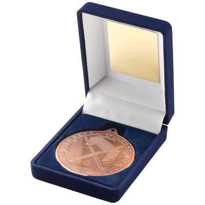 BLUE VELVET BOX+MEDAL HOCKEY TROPHY - BRONZE 3.5in