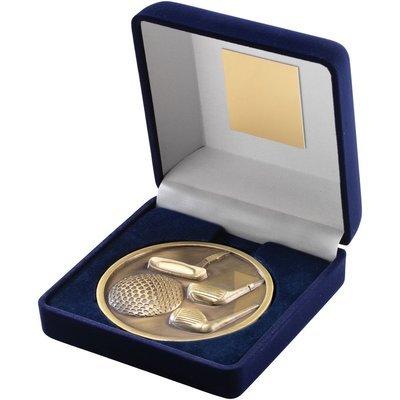 BLUE VELVET BOX+MEDALLION GOLF TROPHY - ANTIQUE GOLD 4in